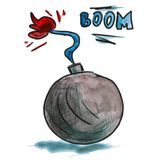 Watercolor black bomb cartoon drawing isolated on vector illustration