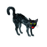 Watercolor black cat Stock Photo
