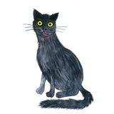 Watercolor black cat Royalty Free Stock Photos