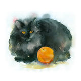 Watercolor black cat. Watercolor painting. Black cat with orange on white background Stock Image
