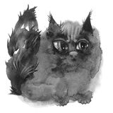 Watercolor black cat Stock Photography