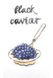 Watercolor black caviar Royalty Free Stock Photo