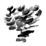 Watercolor black and grey strokes with brush texture on white background, minimalistic monochrome illustration royalty free illustration