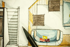 Watercolor and black ink freehand sketch painting of apartment flat floor plan living room with a sharp pencils Royalty Free Stock Photography