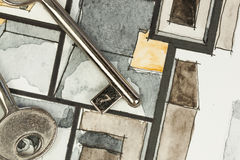 Watercolor and black ink freehand sketch painting of apartment flat floor plan service rooms with shiny metal keys Stock Photos