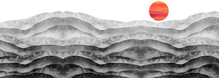 Watercolor black and white hill, hillock, grass. Desert, sand. Summer, autumn landscape on white isolated background. Summer land. Scape Watercolor black royalty free stock photos