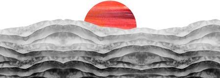 Watercolor black and white hill, hillock, grass. Desert, sand. Summer, autumn landscape on white isolated background. Summer land. Scape Watercolor black stock images