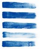 watercolor Blaue Zusammenfassung malte Tintenanschläge eingestellt auf Aquarellpapier Tintenanschläge Flach netter Bürstenschlagm Stockfotos