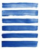 watercolor Blauwe abstracte geschilderde die inktslagen op waterverfdocument worden geplaatst Inktslagen Vlakke vriendelijke bors royalty-vrije stock fotografie