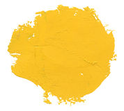 Watercolor blob. Yellow watercolor blob, isolated on white stock photo