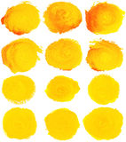 Watercolor blobs. Set of yellow watercolor blobs are isolated on a white background Stock Illustration