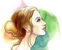 Watercolor blond. Watercolor sketch of a beautiful blond woman Stock Images