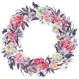 Watercolor Blooming Peony and Lilac Wreath. Watercolor Floral Wreath Made of Opulent Peonies, White Lilac, Leaves and Privet Berries, Isolated on White Royalty Free Stock Images