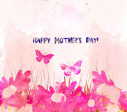 Watercolor Blossom card. Mothers day royalty free illustration