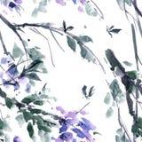 Watercolor blossom tree Royalty Free Stock Photos