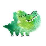 Watercolor blot. Crocodile made with abstract watercolor blot isolated on white background. Hand drawn watercolor crocodile for your creativity stock illustration