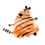 Watercolor blot. Tiger made with abstract watercolor blot isolated on white background. Hand drawn watercolor tiger for your creativity vector illustration