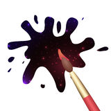 Watercolor blots  with the cosmos and brush. Stock Photo