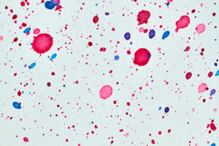 Watercolor blots mix. A mix of watercolor blots on white background. Hand made colorful splashes on white drawing paper Royalty Free Stock Photos