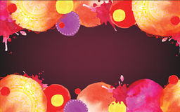 Watercolor blots in warm colors. Frame with circles Stock Photography