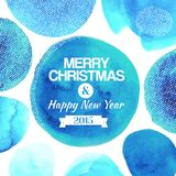 Watercolor blu circles with Merry Christmas congratulations. Abstract watercolor blue circles background. Merry Christmas message. Vector circles around center stock illustration