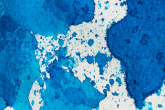 Watercolor blue abstract background. Hand made splashes on watercolor grainy paper Stock Photo