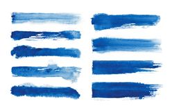 Watercolor. Blue abstract painted ink strokes set on watercolor paper. Ink strokes. Flat kind brush stroke. Blue abstract painted ink strokes set on watercolor Royalty Free Stock Photo