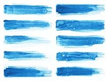 Watercolor. Blue abstract painted ink strokes set on watercolor paper. Ink strokes. Flat kind brush stroke. Blue abstract painted ink strokes set on watercolor Stock Images