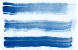 Watercolor. Blue abstract painted ink strokes set on watercolor paper. Ink strokes. Flat kind brush stroke. Blue abstract painted ink strokes set on watercolor Stock Photos