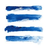 Watercolor. Blue abstract painted ink strokes set on watercolor paper. Ink strokes. Flat kind brush stroke. Blue abstract painted ink strokes set on watercolor Royalty Free Stock Images