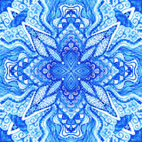 Watercolor blue absttact ornament. Doily watercolor gzhel patter Stock Image
