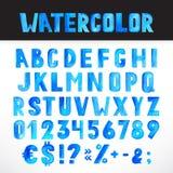 Watercolor blue alphabet Stock Photos