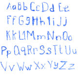 Watercolor blue alphabet Royalty Free Stock Images