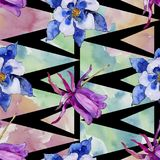 Watercolor blue aquilegia flower. Floral botanical flower. Seamless background pattern. Watercolor blue aquilegia flower. Seamless background pattern. Fabric royalty free illustration
