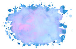 Watercolor blue background with blots for text. Greeting card, decoration postcard or invitation Stock Image