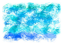 Watercolor blue background. Watercolor artistic sea wave, water, sky. stock illustration
