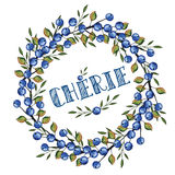 Watercolor Blue berrie, branches wreath.Darling in French Royalty Free Stock Image