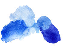 Watercolor blue blot and splash Stock Photo