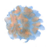 Watercolor blue brown blobs on white background, abstract stains isolated. illustration the watercolor Stock Illustration