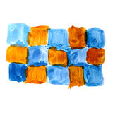Watercolor blue brown mosaic hand isolated st Royalty Free Stock Photography