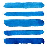 Watercolor blue brush strokes background design Royalty Free Stock Photography