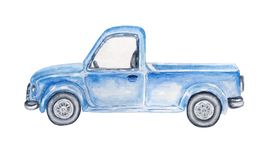 Watercolor blue car vector illustration