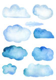 Watercolor blue clouds set  on white Royalty Free Stock Image