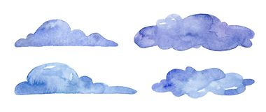Watercolor blue clouds on white background royalty free illustration