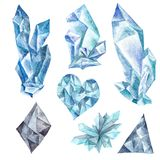 Watercolor Blue Crystals Set. Tribal boho style gemstone design elements isolated on white background Stock Photo