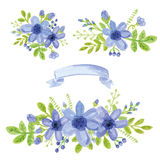 Watercolor blue daisy bouquet.Floral decor set. Watercolor blue daisy flowers,green branches,leaves in bouquet set. Hand painted berries,floral,ribbon,petal Royalty Free Stock Image