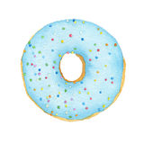 Watercolor blue with decorative sprinkles donut. Isolated on white background. Top view Stock Images
