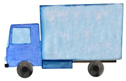 Watercolor blue delivery trailer truck on white background. raster illustration for design. Watercolor blue delivery trailer truck on white background. raster royalty free illustration