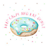 Watercolor blue donut with typography Royalty Free Stock Photography