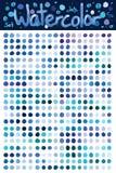 Watercolor blue dot set Royalty Free Stock Photos